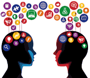 Communication between two people image